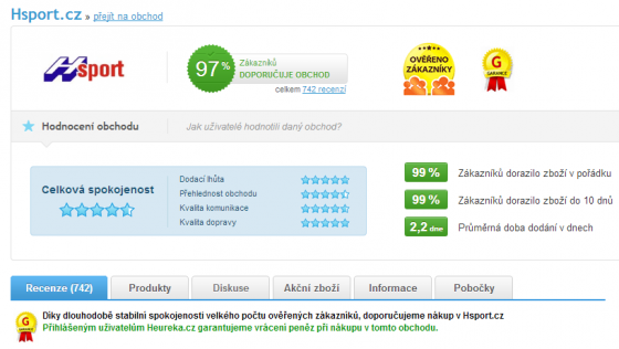 Zobrazení detailu eshopu na Heureka.cz
