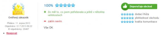 Přehled recenze na Heureka.cz