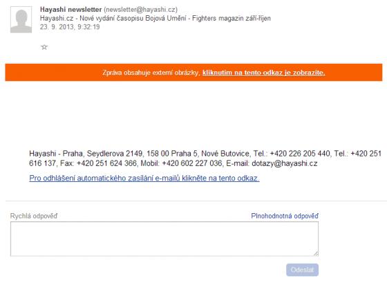 Takto vidí email uživatel ve standartním režimu. Zobrázky se zobrazí až po schválení.