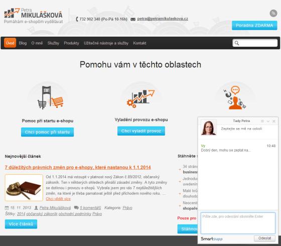 Otisk obrazovky webu