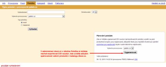Díky exportu spárovanosti okamžitě vidíte, jak jsou vašeho produkty na zbozi.cz spárované.