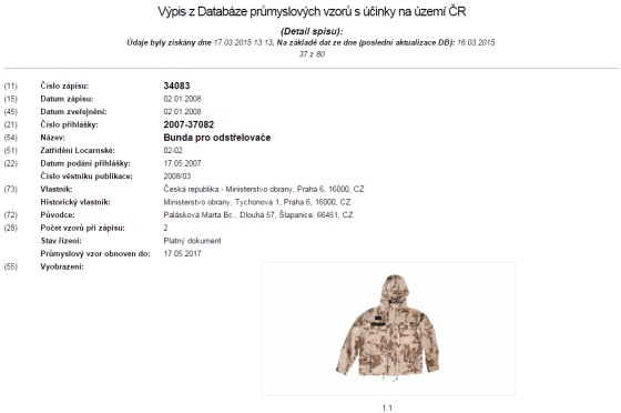 V databázi průmyslových vzorů najdete např. oblečení Ministerstva obrany, v tomto případě se jedná o bundu odstřelovače. Průmyslový vzor chrání vzhled výrobku.
