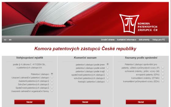 Webové stránky komory patentových zástupů na www.patzastupci.cz. V registru dohledáte kontakty na jednotlivé patentové zástupce.