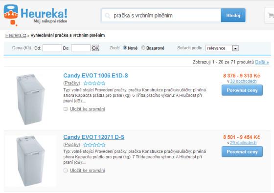 Obrázek s přehledem eshopů na webu www.heureka.cz