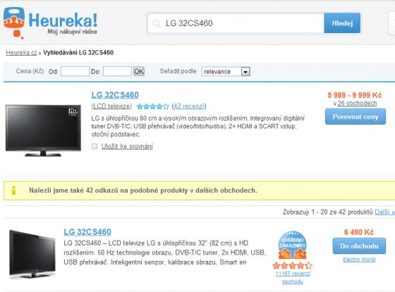 Otisk obrazovky webu Heureka.cz