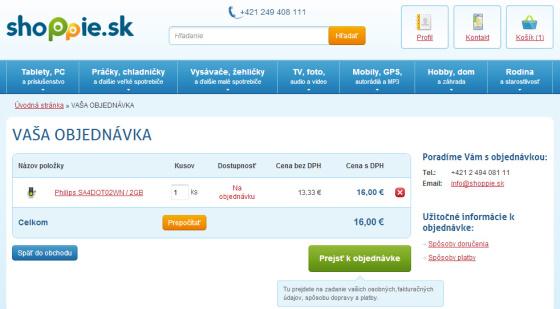 Snímek obrazovky e-shopu www.shoppie.sk