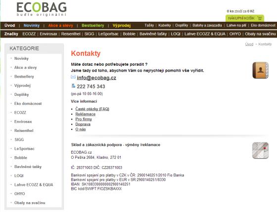 Típnutá stránka webu www.ecobag.cz