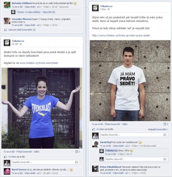 Scrren obrazovky z Facebooku s výpisem příspěvků