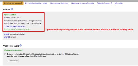 Vzhled administrace zbozi.cz, když jsou zadány upřednostněné prokliky.