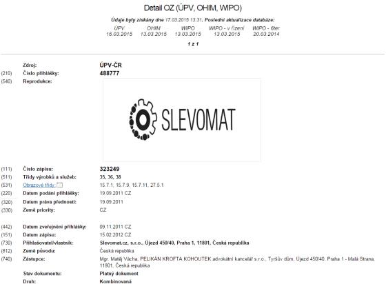 Logo slevového portálu Slevomatu je taktéž chráněno ochrannou známkou, v tomto případě kombinovanou (slovní název a vzhled).